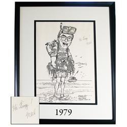 Framed caricature in black ink of Mel Fisher by Michael Scott of the South Florida Science Museum (W