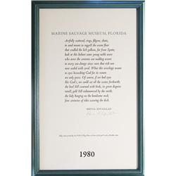 Framed, hand-signed print of poem  Marine Salvage Museum, Florida  by Rhina P. Espaillat, one of 50