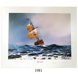 Signed lithograph print #83 of the Rooswijk shipwreck of 1739, limited edition (400 copies made), by