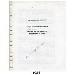 (Atocha) Research Coin Collection (photocopy) signed by Marisha Wagner Moran (1987), with copy of Ke