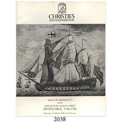 Christie's (South Kensington). Sale of Artifacts from the Royal Navy's First Invincible 1744-1758 (M