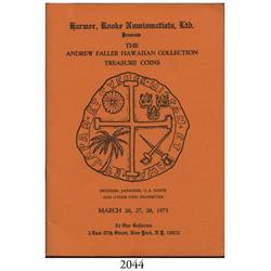 Harmer Rooke (New York). The Andrew Faller Hawaiian Collection and Treasure Coins (March 26-28, 1973