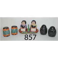 THREE PAIR OF SALT AND PEPPER SHAKERS
