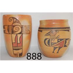 TWO HOPI POTTERY CYLINDERS
