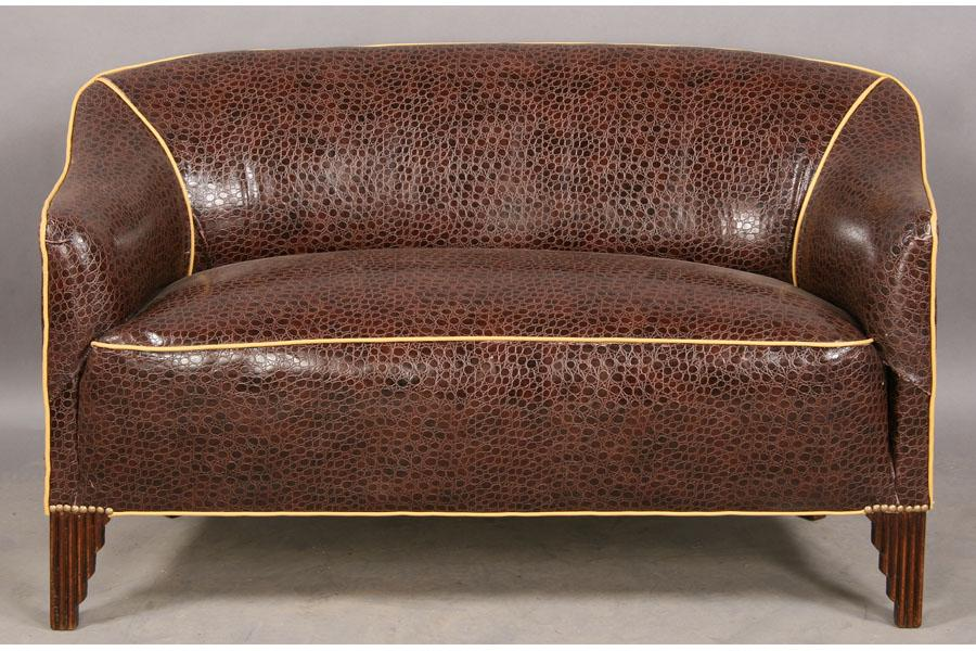 Superb Art Deco Settee Couch Sofa Upholstered Alligator Ocoug Best Dining Table And Chair Ideas Images Ocougorg