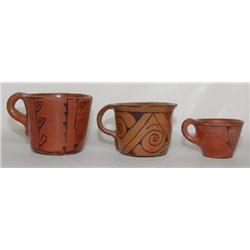 THREE MARICOPA POTTERY CUPS