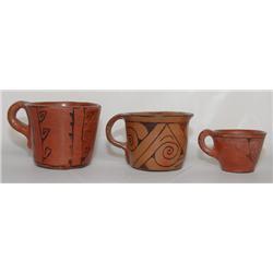 THREE MARICOPA POTTERY CUPS