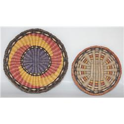 TWO HOPI BASKETRY PLAQUE