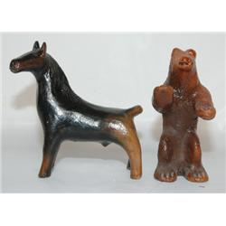 TWO NAVAJO POTTERY ANIMALS
