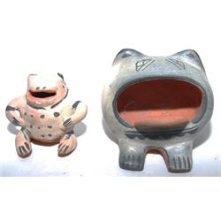 TWO COCHITI POTTERY FROGS