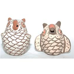 TWO ZUNI POTTERY OWLS