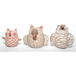 THREE POTTERY OWLS