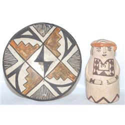 TWO ACOMA POTTERY ITEMS