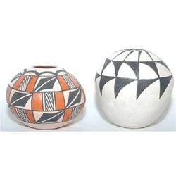 TWO ACOMA POTTERY SEED JARS