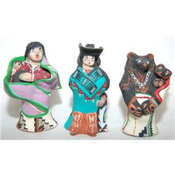 THREE ISLETA POTTERY FIGURES