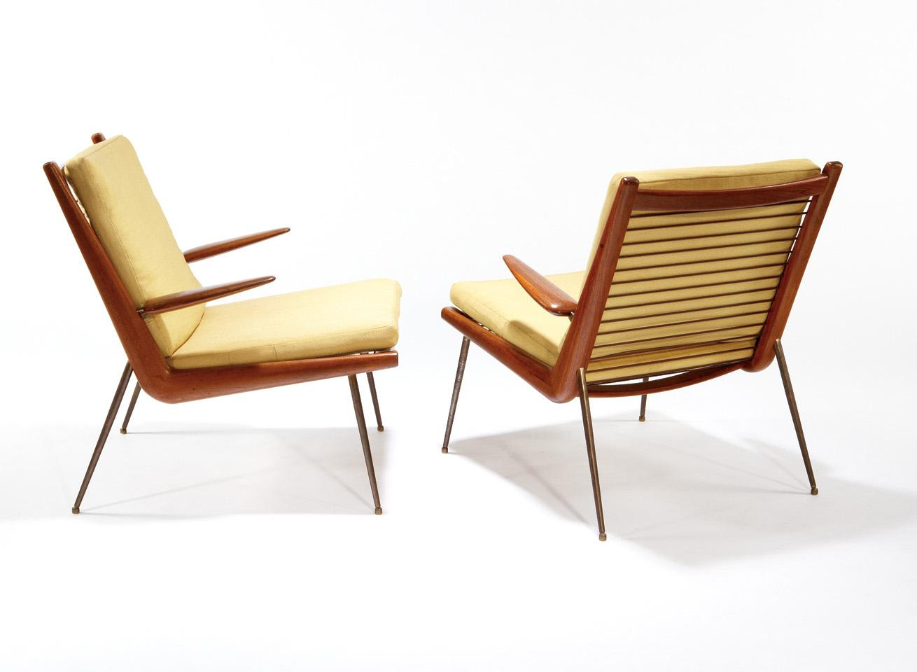 Awesome Peter Hvidt France Sons Pair Of Paddle Arm Lounge Chairs Caraccident5 Cool Chair Designs And Ideas Caraccident5Info