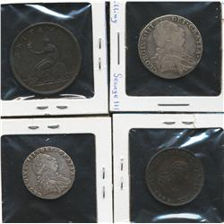 Lot of four England Coins