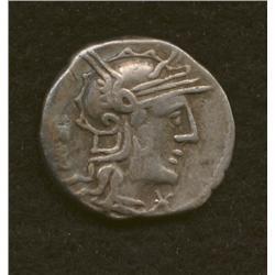 M. Opimius, 131 BC, denarius, AR, ROMA and monogram/Apollo in biga