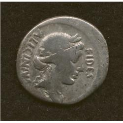 L. Licinius Nerva, 47 BC, denarius, AR, Fides/ horseman and warrior
