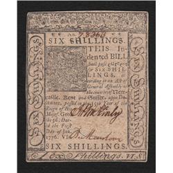 Delaware.  Jan. 1, 1776.  Six Shillings