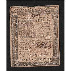 Delaware.  Jan. 1, 1776.  Two Shillings & Six Pence