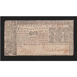Maryland.  April 10, 1774.  Two Dollars