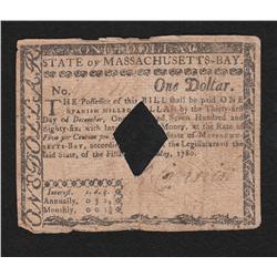 Massachusetts.  May 5, 1780.  One Dollar