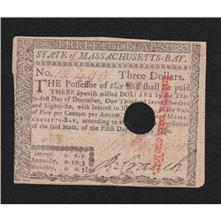 Massachusetts.  May 5, 1780.  Three Dollars