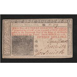 New Jersey.  March 25, 1776.  Fifteen Shillings.
