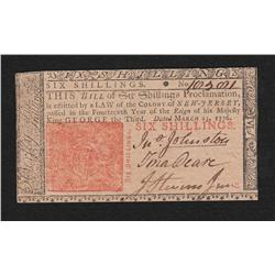 New Jersey.  March 25, 1776.  Six Shillings.