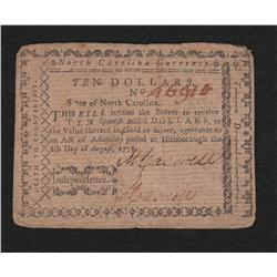 North Carolina.  August 8, 1778.  Ten Dollars.