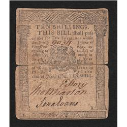 Pennsylvania.  June 18, 1764.  Ten Shillings.