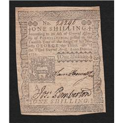 Pennsylvania.  April 3, 1772.  One Shilling.