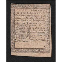 Pennsylvania.  April 10, 1777.  Three Pence.