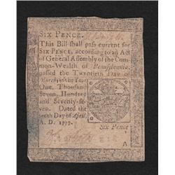 Pennsylvania.  April 10, 1777.  Six Pence.