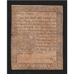 Pennsylvania.  April 10, 1777.  Nine Pence.