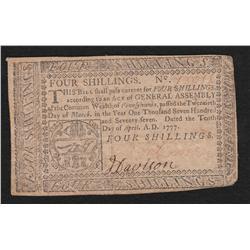 Pennsylvania.  April 10, 1777.  Four Shillings