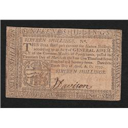 Pennsylvania.  April 10, 1777.  Sixteen Shillings.