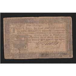 Pennsylvania.  March 16, 1785.  Five Shillings.