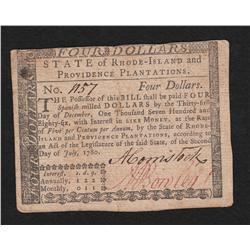 Rhode Island.  July 2, 1780.  Four Dollars.