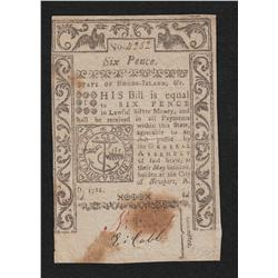 Rhode Island.  Session of May 1786.  Six Pence.