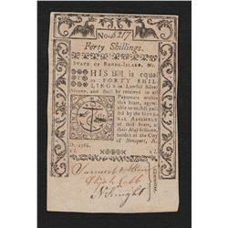 Rhode Island.  Session of May 1786.  Forty Shillings.