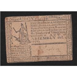 Virginia.  October 7, 1776.  2/3 Dollar