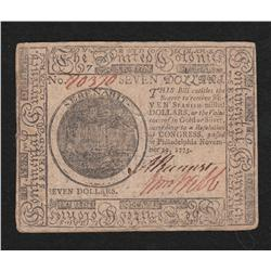 Continental Currency.  November 29, 1775.  Seven Dollars.