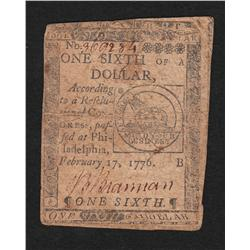 Continental Currency.  February 17, 1776.  1/6 Dollar.
