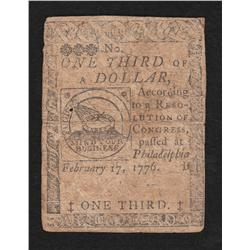 Continental Currency.  February 17, 1776.  1/3 Dollar.