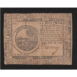 Continental Currency.  February 26, 1777.  Six Dollars.