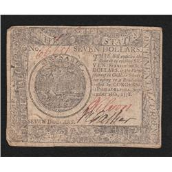 Continental Currency.  September 26, 1778.  Seven Dollars.