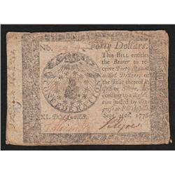 Continental Currency.  September 26, 1778.  Forty Dollars.