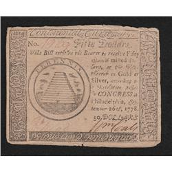 Continental Currency.  September 26, 1778.  Fifty Dollars.